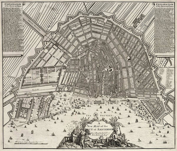 Wall Art - Painting - Map Of The City Of Amsterdam by John Senex