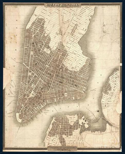 New York City Map Drawing - Map Of The City Of New York 1834 by Baltzgar