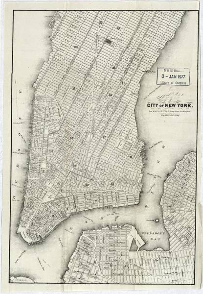 New York City Map Drawing - Map Of The City Of New York 1860 by Baltzgar