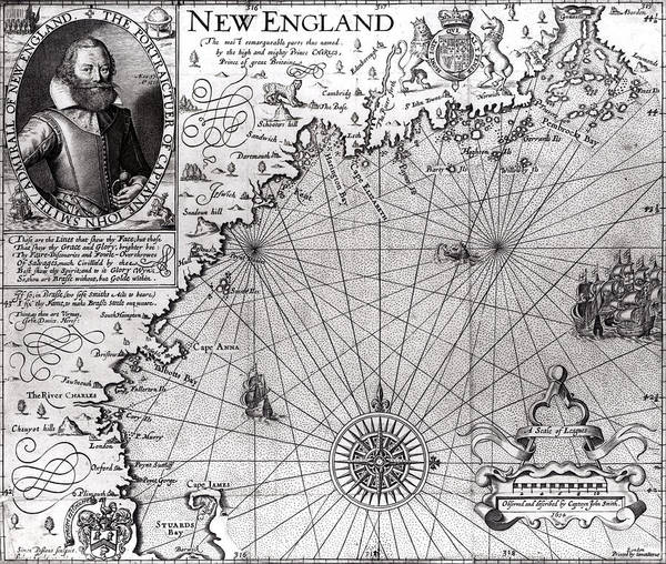 Historic Drawing - Map Of The Coast Of New England by Simon de Passe
