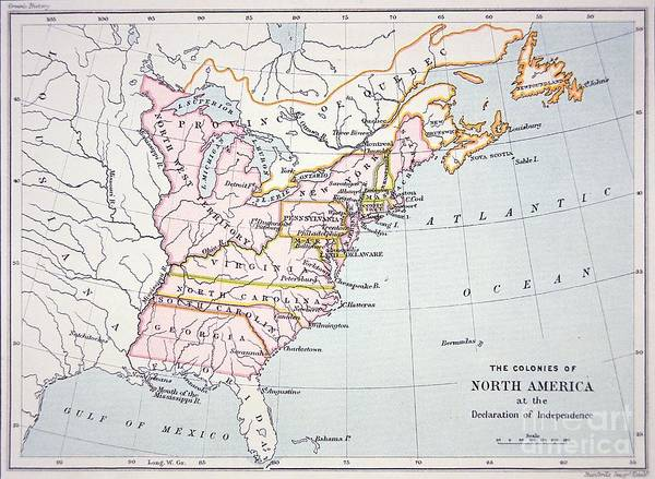 Usa Drawing - Map Of The Colonies Of North America At The Time Of The Declaration Of Independence by American School
