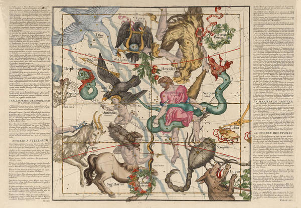 Wall Art - Drawing - Map Of The Constellations Hercules, Sagittarius, Scorpius, Libra - Celestial Map - Antique Map by Studio Grafiikka