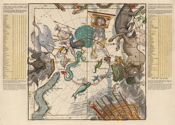 Hydra Wall Art - Drawing - Map Of The Constellations Hydra, Indus, Chameleon, Apus, Centaurus - Celestial Map - Antique Map by Studio Grafiikka