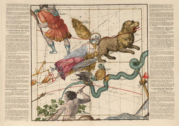 Hydra Wall Art - Drawing - Map Of The Constellations Virgo, Hydra, Leo - Celestial Map - Antique Map Of The Sky by Studio Grafiikka