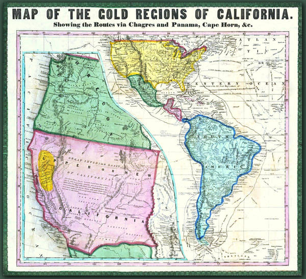 Digital Art - Map Of The Gold Regions Of California by Lisa Redfern