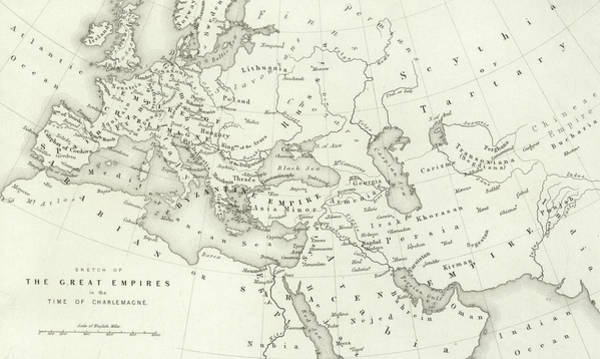 Wall Art - Drawing - Map Of The Great Empires In The Time Of Charlemagne by English School