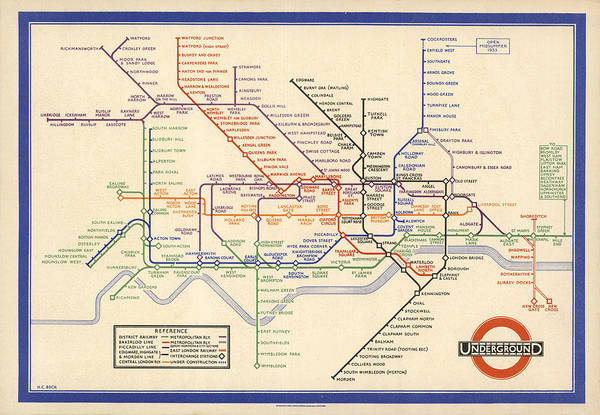 Wall Art - Drawing - Map Of The London Underground - London Metro - 1933 - Historical Map by Studio Grafiikka