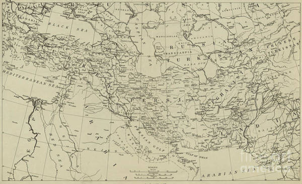 Wall Art - Drawing - Map Of The Middle East Circa 1918 by American School