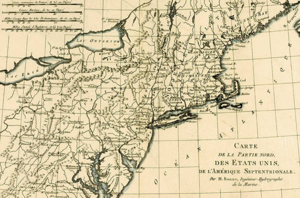 Atlantic Drawing - Map Of The North East Coast Of America by Guillaume Raynal