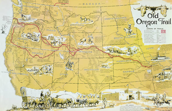 Cart Drawing - Map Of The Old Oregon Trail by American School