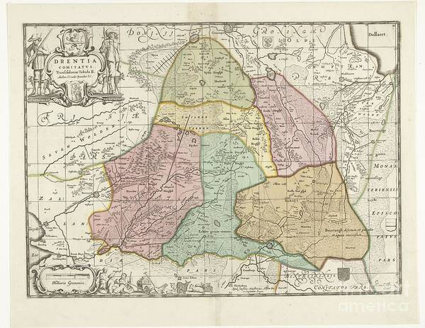 Painting - Map Of The Province Of Drenthe by Celestial Images