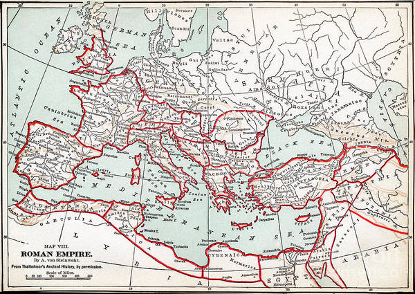 Drawing - Map Of The Roman Empire by Granger
