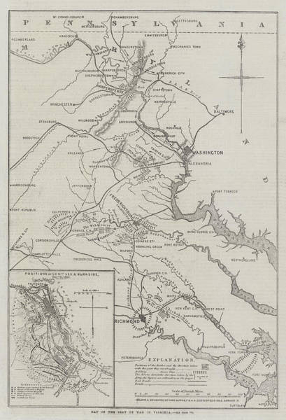 Civil War Drawing - Map Of The Seat Of War In Virginia by John Dower