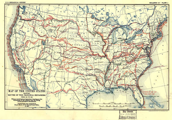 Painting - Map Of The United States Showing Routes Of Principal Explorers by Frank Bond