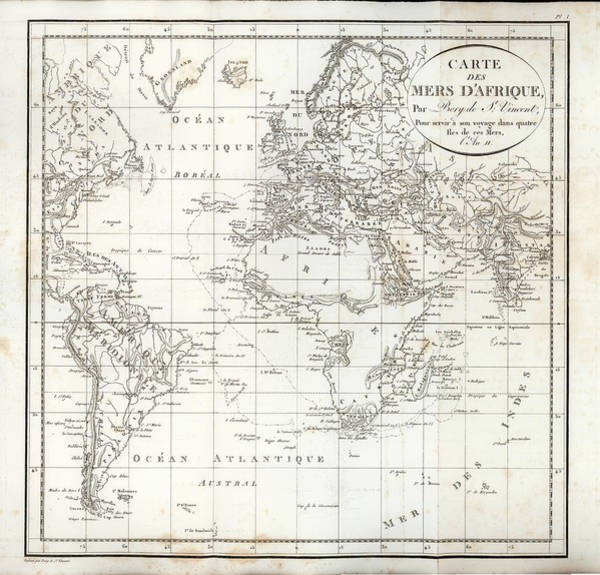 Art Print featuring the drawing Map Of The Voyage To Explore Islands In The Seas Of Africa by J B Bory de Saint-Vincent