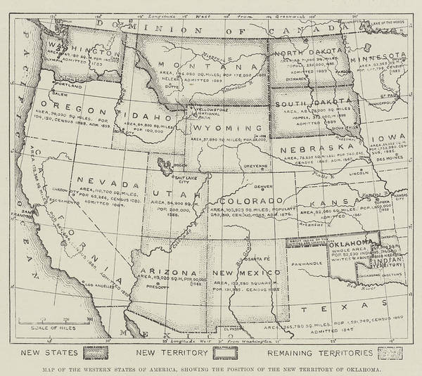 Old West Drawing - Map Of The Western States Of America by English School