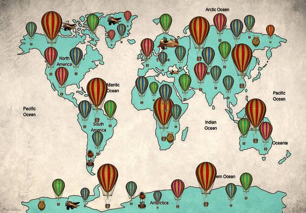 Work Of Art Digital Art - Map Of The World 7 by Mark Ashkenazi