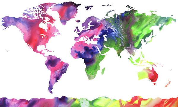 Painting - Map Of The World Bright Watercolour by Irina Sztukowski