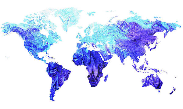 Painting - Map Of The World In Cool Blue Watercolor  by Irina Sztukowski