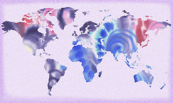 Painting - Map Of The World In Purple And Blue by Irina Sztukowski