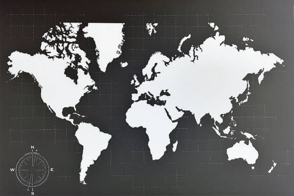 Photograph - Map Of The World Negative B W by Rob Hans