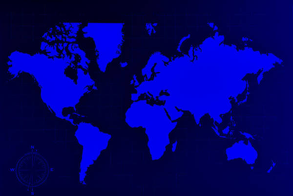 Photograph - Map Of The World Negative Blue by Rob Hans