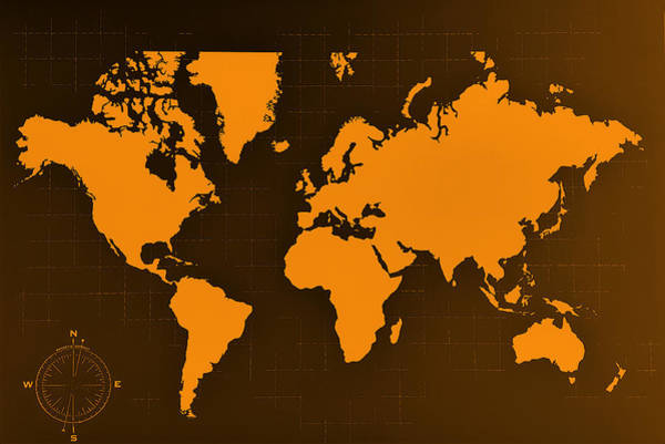 Photograph - Map Of The World Negative  Copper by Rob Hans