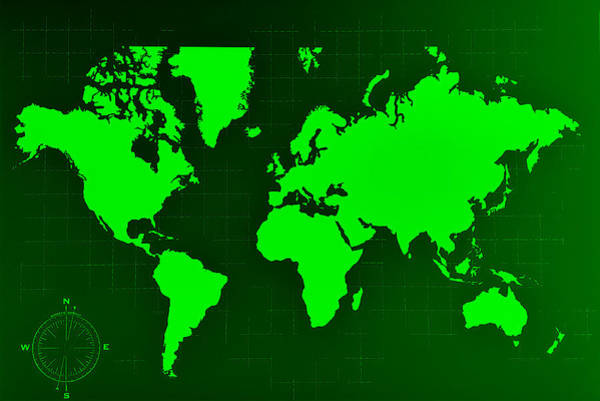 Photograph - Map Of The World Negative Green by Rob Hans