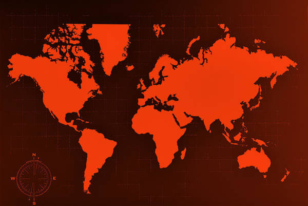 Photograph - Map Of The World Negative Orange by Rob Hans