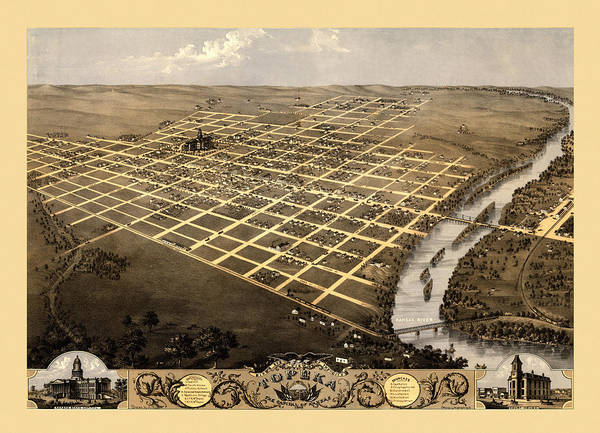 Topeka Wall Art - Photograph - Map Of Topeka 1869 by Andrew Fare