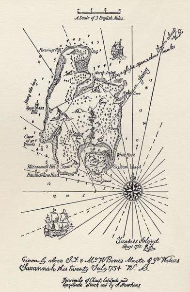 Wall Art - Drawing - Map Of Treasure Island. From The Book by Vintage Design Pics