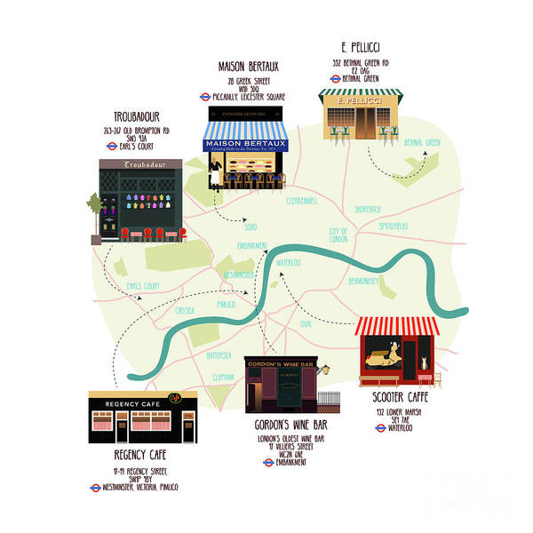 Wall Art - Digital Art - Map Of Unique London Eateries And Bars by Claire Huntley