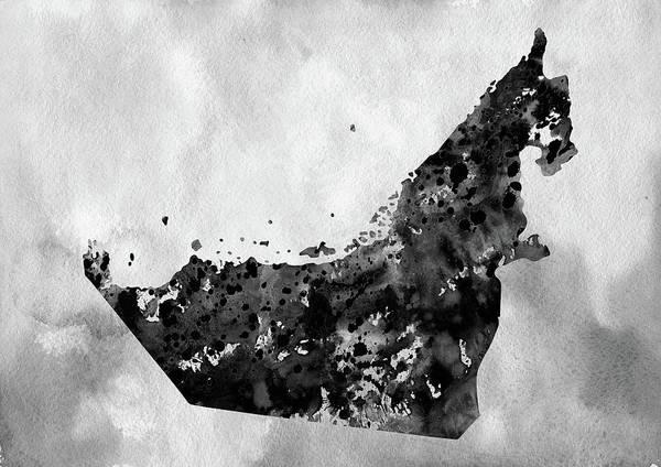 Arab Digital Art - Map Of United Arab Emirates-black by Erzebet S