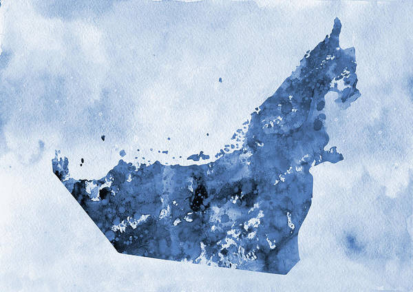 Arab Digital Art - Map Of United Arab Emirates-blue by Erzebet S