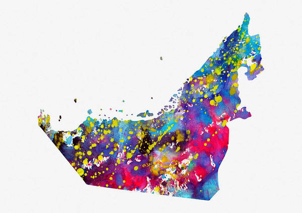 Arab Digital Art - Map Of United Arab Emirates-colorful by Erzebet S