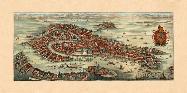 Photograph - Map Of Venice 1636 by Andrew Fare