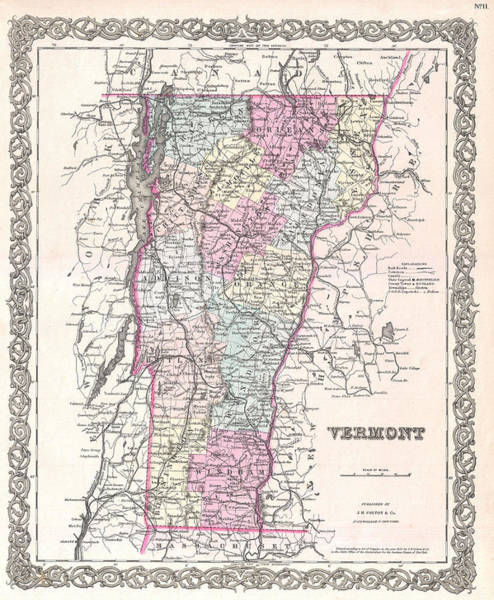 Drawing - Map Of Vermont by Joseph Hutchins Colton