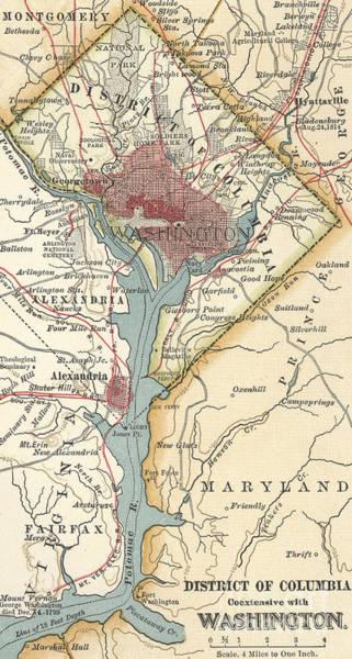 Historic Drawing - Map Of Washington, Dc, Circa 1900 by American School