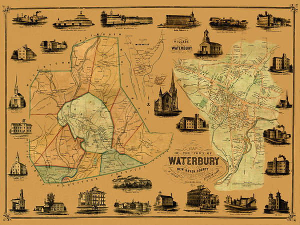 Waterbury Photograph - Map Of Waterbury 1852 by Andrew Fare