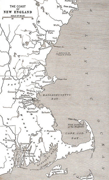 Atlantic Drawing - Map Showing The Settlements In The New England Colonies, North America In The 17th Century by American School