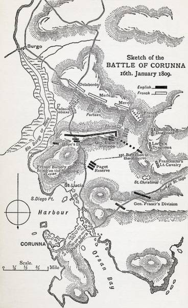 Galicia Drawing - Map Showing The Site Of The Battle Of by Vintage Design Pics