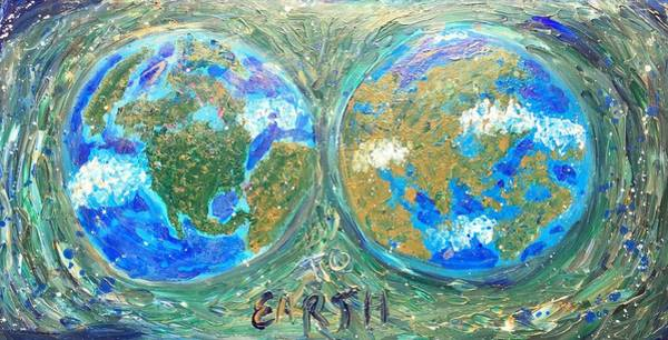 Recycled Materials Painting - Map To Earth  by Visker Art Studio Designs Dottie Visker
