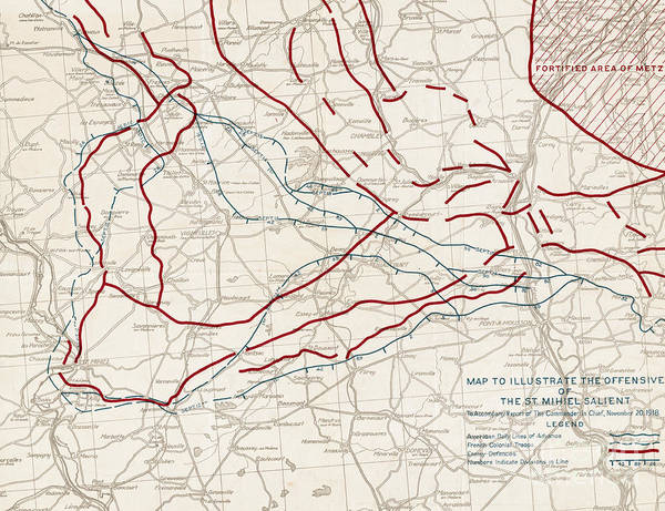 Wall Art - Drawing - Map To Illustrate The Offensive Of The St. Mihiel Salient, November 1918 by American School