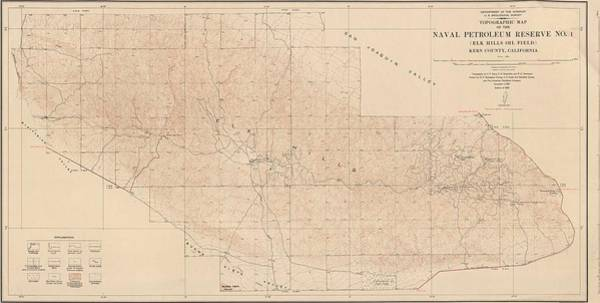 Petroleum Drawing - Map - Usa - Vintage - Old Map - Art Wall - State - Naval Petroleum Reserve - California by Art Makes Happy