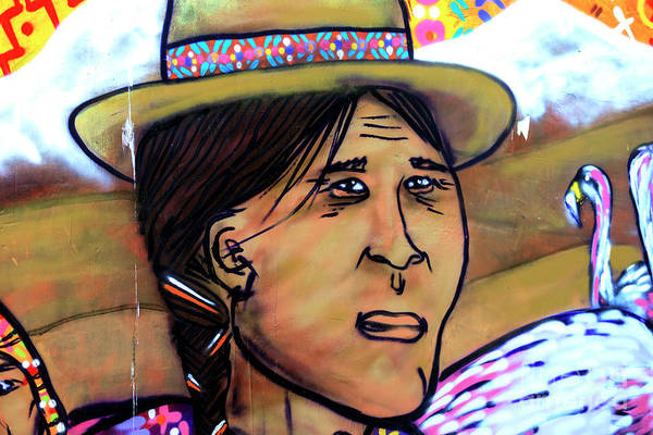Photograph - Mapuche Woman Mural In Valparaiso Chile by John Rizzuto