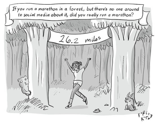 Accomplishment Drawing - Marathon In The Woods Finish by Farley Katz