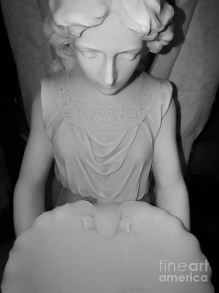 Photograph - Marble Angel Holy Water Font In Soft Black And White by Rose Santuci-Sofranko