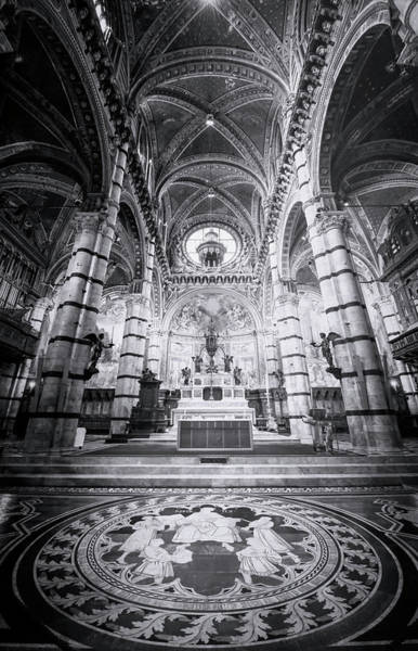 Photograph - Marble Floor Siena Italy Cathedral Bw by Joan Carroll
