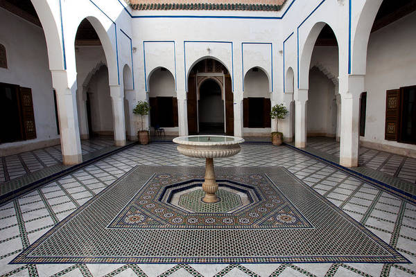 Photograph - Marble-paved Courtyard In Bahia Palace by Aivar Mikko