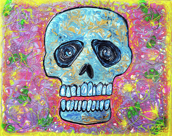 Wall Art - Painting - Marble Skull  by Laura Barbosa